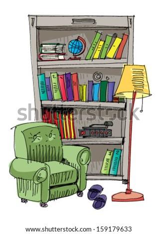 bookcase   interior   cartoon