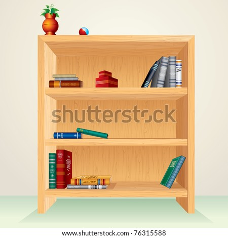 Bookcase with books, magazines and other items, all vector elements separated and grouped