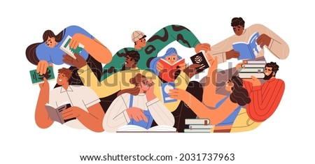 Bookcrossing concept. Happy people exchanging, borrowing and recommending paper books. Group of man and woman reading. Readers swap literature. Flat vector illustration isolated on white background