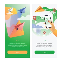 Booking private flying. Сoncept of paper airplanes for mobile apps or banners.