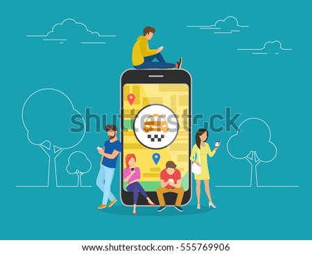 Booking taxi online concept design. Flat illustration of young men and women standing near big smartphone and using their own smart phones for ordering taxi cab via mobile app and paying online.