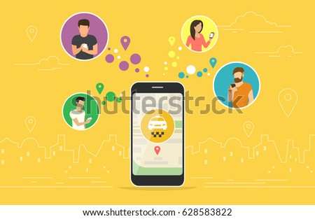 Booking taxi online concept design. Flat vector illustration of young men and women in circle icons using smartphone mobile app for ordering taxi vehicle via application online. Yellow banner for web