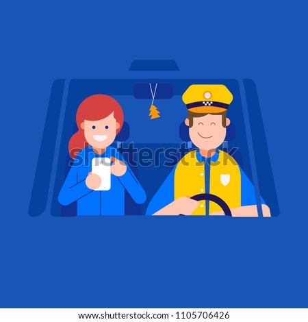 Booking taxi online service concept. Smiling taxi driver man driving the cab and woman passenger with smartphone inside cabin.