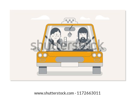Booking taxi via mobile app. Taxi driver and passengers in car front view