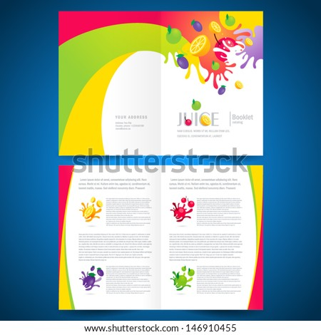 booklet catalog brochure folder fruit juice liquid drops splash colorful background