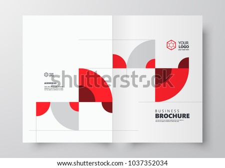 Booklet design template, creative business brochure circles theme red and grey color