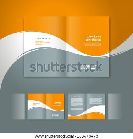 booklet design template white curve line element orange grey background