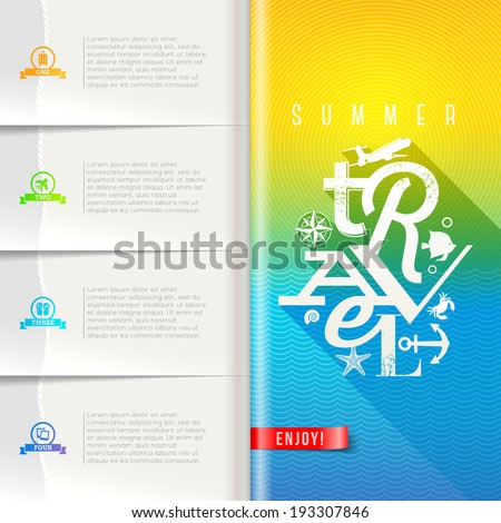Booklet template with infographic elements summer travel greeting sign on pattern paper pages vector design