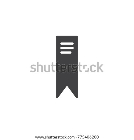 Bookmark icon vector, filled flat sign, solid pictogram isolated on white. Symbol, logo illustration.