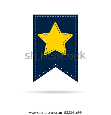 Bookmark icon with yellow star . Vector illustration. Bookmark icon in flat style isolated.