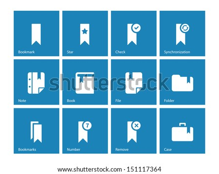 Bookmark icons on blue background. Vector illustration.