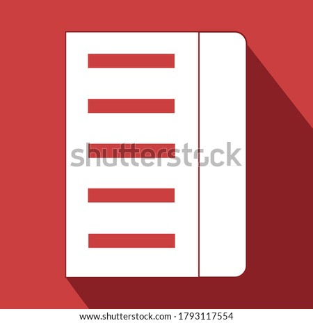 bookmark in a book long shadow sign. reading book icon. File document note Flat illustration of reading vector icon for web isolated on white background.