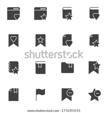 Bookmark vector icons set, modern solid symbol collection, filled style pictogram pack. Signs logo illustration. Set includes icons - website bookmark, favorite book, folder, document file, star, flag