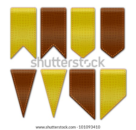 Bookmarks - set of ribbon icons with leather texture and in various shapes