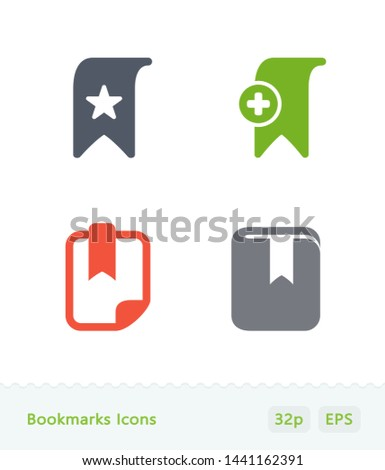 Bookmarks - Sticker Icons. A set of 4 professional, pixel-perfect icons.