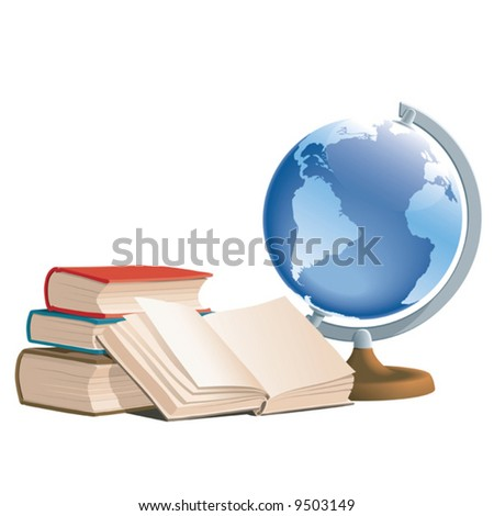 Books and globe, vector