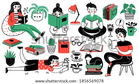 Books and readers. Happy people read and study. Book piles, houseplants, cat, tea and coffee cup. Hand drawn cartoon hobby decorative set. Young person read book with tea and cat illustration Сток-фото ©