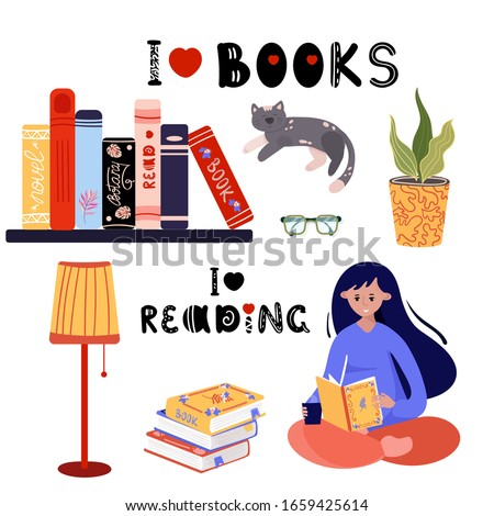 books and reading set woman is