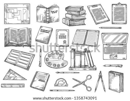Books and stationery sketches, education and knowledge. Vector scheme, draft and book, check list and textbooks, palette and pencil, shelf and laptop, brush and rulers, scissors divider, protractor