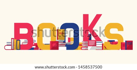 Books and textbooks with bookshelf vector illustration. Reading eductational festival or library concept. Different color volumes on shelf made of letters.