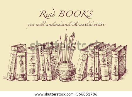 books and writing tools in