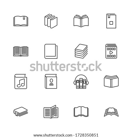 Books, Bookstore, Diary outline icons set - Black symbol on white background. Books, Bookstore, Diary Simple Illustration Symbol - lined simplicity Sign. Flat Vector thin line Icon - editable stroke