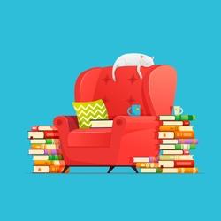 Books concept. Living room furniture armchair with books and cat character lying and resting on armchair. Cat dreaming. Interior element of home library. Illustration reading books, hobbies book lover