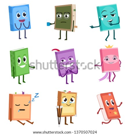 Books cute characters set. School books with different traits and emotions. Funny cartoon character. Isolated vector illustration #1370507024