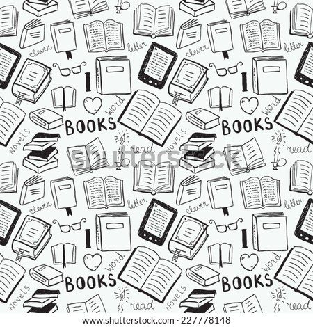Books doodles seamless background