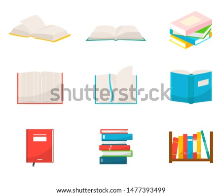 Books flat vector illustrations set. School notebooks with empty sheets, students and pupils notepads isolated cliparts pack on white background. Textbooks stacks and piles design elements