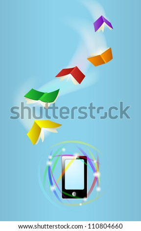 Books fly toward phone