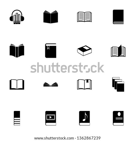 Books icon - Expand to any size - Change to any colour. Perfect Flat Vector Contains such Icons as Bible, video, music, ebook, open notebook, bookmark, headphones, stack and more