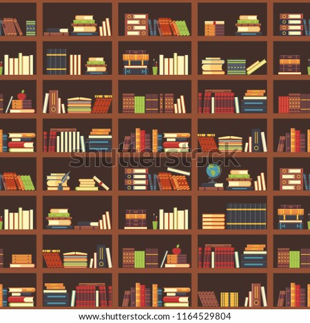 Books in bookcase seamless pattern. School book, science literature textbook, dictionary and magazines stack at university old library bookshelf. College textbooks or bookshop retro vector background