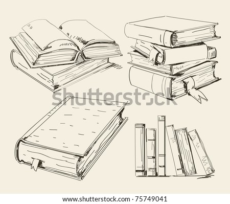 Books in different positions and styles