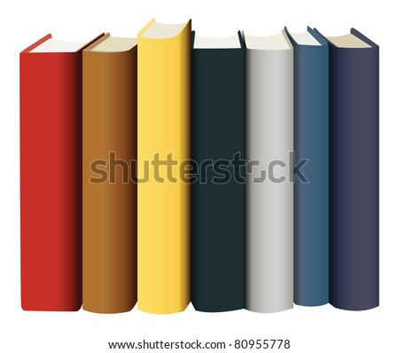 books in multicolored covers view from back vector