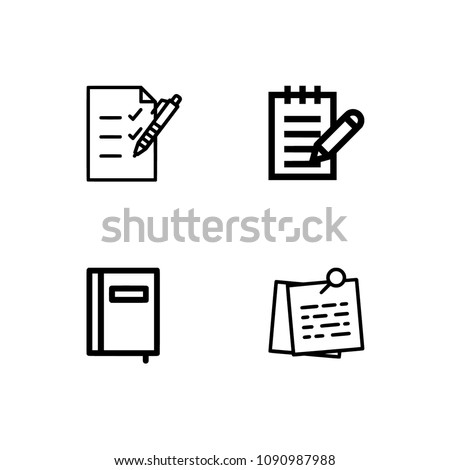 Books line icon set #2. Included the icons as book shelf, stack, read, notebook. Set icon EPS 10 vector format. Professional pixel perfect black & white icons. Transparent background. #1090987988