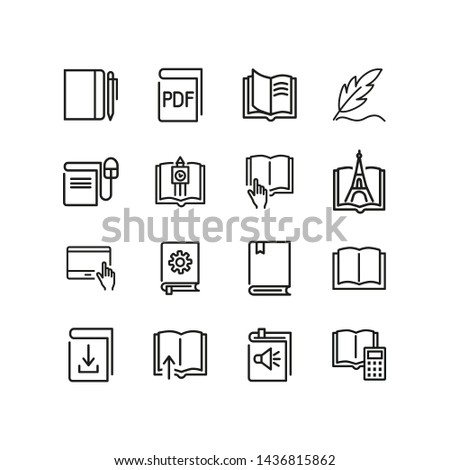 Books line icon set. Novel, information, fairytale. Education concept Can be used for topics like knowledge, school, library