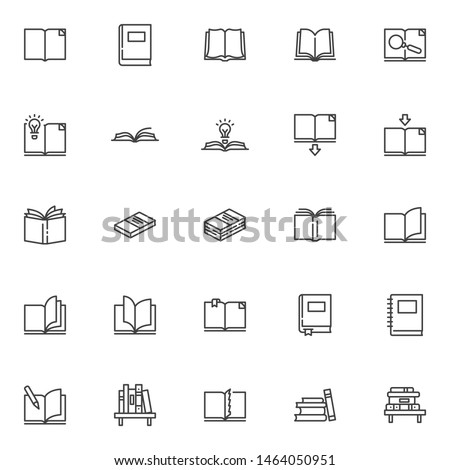 Books line icons set. linear style symbols collection, outline signs pack. vector graphics. Set includes icons as open book page with bookmark, textbook, notebook, library, bookshelf, bookstore