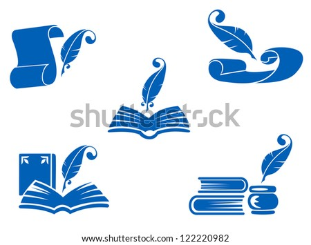 Books, manuscripts and feathers icons set for education industry design, such as emblem. Jpeg version also available in gallery