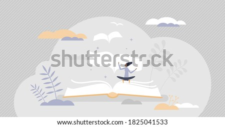 Books message as literature meaning and author moral idea tiny person concept. Creative idea presenting method with hidden information vector illustration. Blog, poem or novel story publication event. Stockfoto ©
