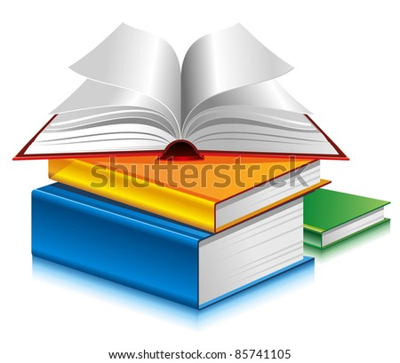 Books of different colors on white background. Vector. - stock vector