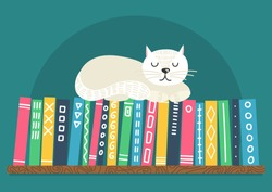 Books on shelf with white cat. Different color books with ornament on shelf on teal background. Cute cat sleeping on bookshelf. Vector illustration.