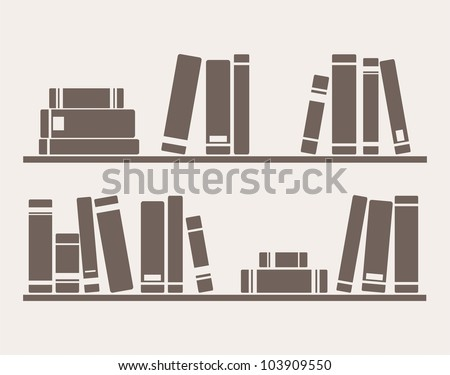 Books on the shelves simply retro vector illustration. Vintage hand drawn book objects for banner, logo or website design elements