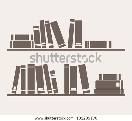 Books on the shelves simply retro vector illustration. Vintage objects for decorations, background, textures or interior wallpaper. Sign, symbol, logo, banner or flat design element