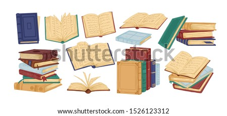 Books piles hand drawn vector illustrations set. Blank textbooks heaps. Hardbacks with empty pages isolated on white background. Literature realistic drawing. Organizers, planners, notebooks.