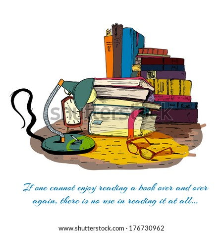 Books reading still life with book stacks isolated vector illustration