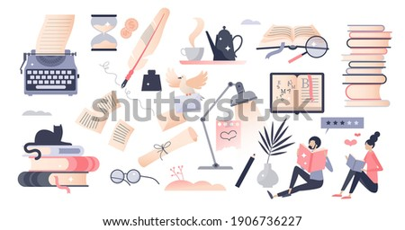 Books set as elements with literature reading and writing tiny person concept. Object bundle with publishing work, school or university education learning and novels loving items vector illustration. Stockfoto ©