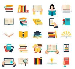 Books set in flat design style isolated on white background, vector illustration.  E-learning symbols