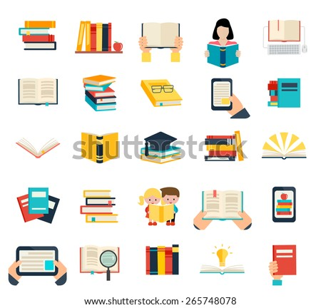 Books set in flat design style isolated on white background, vector illustration.  E-learning symbols