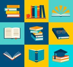 Books set in flat design style, vector illustration